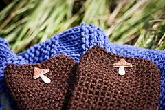 Rukavice - Hnedé rukavice s hríbikom - 4467384_