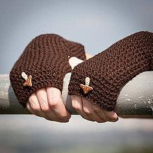 Rukavice - Hnedé rukavice s hríbikom - 4467383_