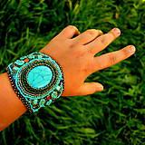 - Turquoise bracelet - vyšívaný náramek - 4466500_