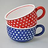 Nádoby - Dvě misky s oušky puntík 12 modrý a červený - 4466976_