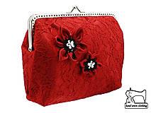 Čipková dámská  kabelka červena   0665A