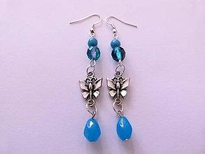 Náušnice - Modré náušničky s motýlikmi - 4470316_