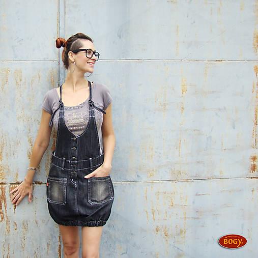 035ca703219 Tmavá elastická džínová sukně s laclem