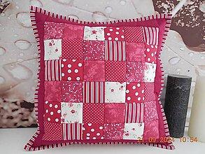 Úžitkový textil - patchwork obliečka 40x40 cm bordovo červená - 4471733_