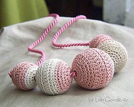 Náhrdelníky - Ružový po babičke - 4473684_