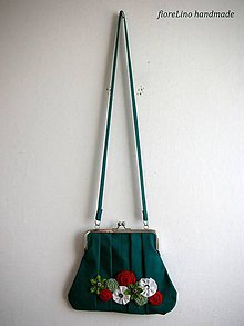 Kabelky - tmavozelená taška s kvetmi - 4474664_
