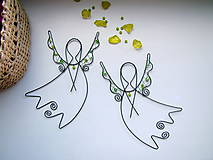 Dekorácie - anjel letí, zelený - 4476457_