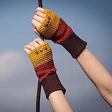 Rukavice - Bavlnené žlto hnedo oranžové rukavice - 4479360_