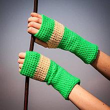 Rukavice - Prúžkované krémovo zelené - 4479493_