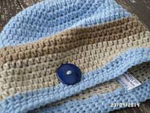 Čiapky - čiapka s modrým gombíkom :) - 4480609_