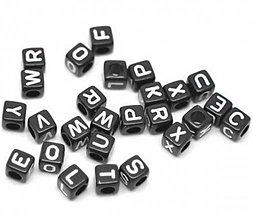 Korálky - Plastové korálky abeceda kocky (balíček 100ks) - 4482598_