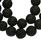 Minerály - NAT5281, NATUR, Prírodné korálky Láva 10mm ČIERNA /1ks - 4485302_