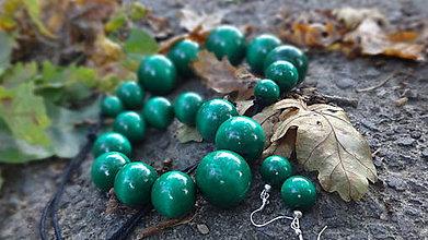 Sady šperkov - Tmavozelená sada 3v1 - 4485897_