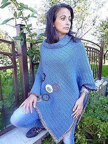 Iné oblečenie - Modrá a hnedá sa majú rady, pončo - 4485568_