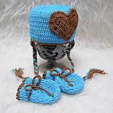 Detské súpravy - Tyrkysový set - čiapočka + rukavičky - 4488245_