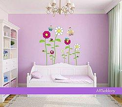 Dekorácie - (3418f) Nálepka na stenu - Včely, Motýle, Lienka a Kvety - 4488169_