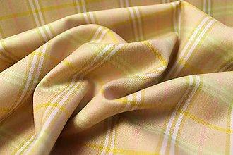 Textil - Ružovo žlté káro - 4488023_