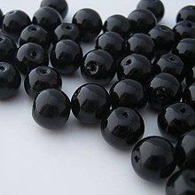 Korálky - Čierne sklenené korálky voskované 10mm (balíček 50ks) - 4488160_