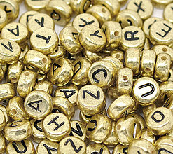Korálky - Zlaté korálky abeceda (balíček 100ks) - 4488461_