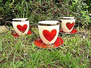 Nádoby - Pohár veľký srdcový s tanierikom - 4488316_