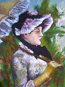 Obrazy - Reprodukcia Manetovej maľby - Dáma so slnečníkom - obraz na stenu, maľba - 4494595_