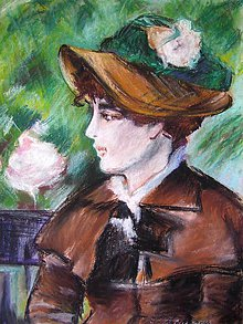 Obrazy - Reprodukcia Manetovej maľby - Dáma na lavičke - obraz na stenu, maľba - 4494618_
