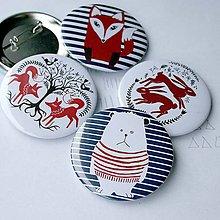 Odznaky/Brošne - Odznaky 58mm (maco, líšky, zajace) - 4491849_