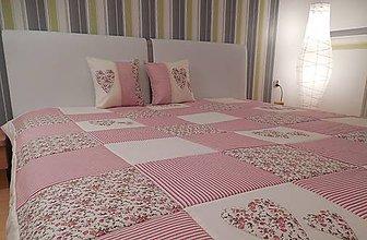 Úžitkový textil - svadobný dar patchwork deka 200x200 + 2 vankúše s výplňou  romantická - 4496802_