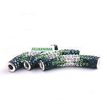 Korálky - Šambala valček zeleno-strieborný - 4502147_