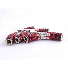 Korálky - Shambala valček červeno-strieborný - 4502156_