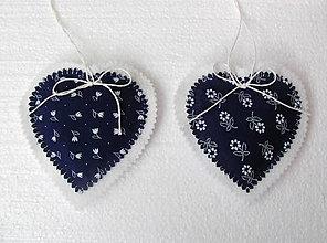Dekorácie - modrotlačové srdiečka - 4500579_