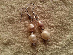 Náušnice - Náušnice z riečnych perál. - 4503571_