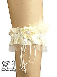 Bielizeň/Plavky - Svadobný podvazok ivory 0240 - 4505785_