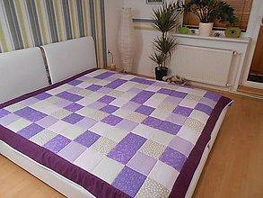 Úžitkový textil - prehoz na posteľ patchwork veľká deka 200x200 smotavovo - fialovo-bežová - 4505712_