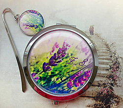 Zrkadielka - sada Levandulky - iniciály, jméno na přání - 4507023_