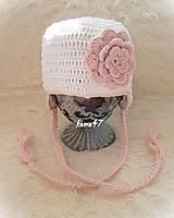Detské čiapky - Prechodná... snehobiela s ružovou - 4508621_