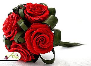 Kytice pre nevestu - Trvanlivá svadobná kytica zo stabilizovaných kvetov (Fialová) - 4511229_