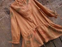 Kabáty - Lněný,přírodní kabátek s kapradinou - 4515783_