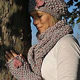 Čiapky - pink or grey? kompletka - 4514738_