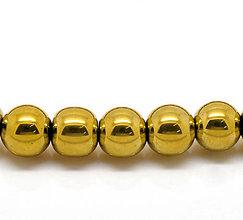 Korálky - Hematitové gulôčky zlatej farby 10mm - 4512933_