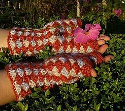 Rukavice - Roztúžený Škoricový Harlekýn, háčkované rukavice - 4514412_