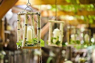 Svietidlá a sviečky - Svietnik z brezového dreva - 4517774_