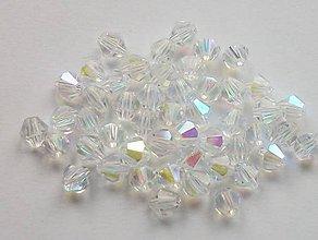 Korálky - Bicone - Crystal Clear AB /4mm/ 10ks - 4520220_