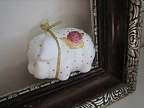 Dekorácie - Vianočné zlaté prasa - pokladnička - 4516986_