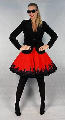 Sukne - FuFu sukně červené město s černou spodničkou - 4519762_