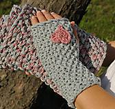 Rukavice - sivé s ružovým ♥ - 4519756_