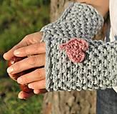 Rukavice - sivé s ružovým ♥ - 4519757_