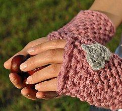 Rukavice - ružové so sivým ♥ - 4517758_
