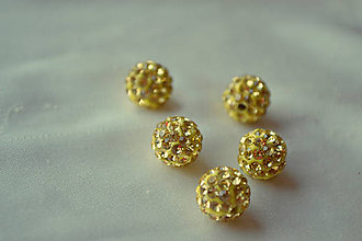 Korálky - Shamballa korálky CZ kryštál zlaté, 8mm, 0.40€/ks - 4517178_