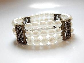 Náramky - Elastický náramok - KLEOPATRA - Biele perly - 4523849_
